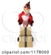 Clipart Of A 3d Super Hero Man In A Red Costume Moving Boxes On A Dolly 2 Royalty Free CGI Illustration