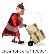 Clipart Of A 3d Super Hero Man In A Red Costume Moving Boxes On A Dolly Royalty Free CGI Illustration