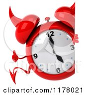 Clipart Of A 3d Devil Alarm Clock Holding A Thumb Up By A Sign Royalty Free CGI Illustration by Julos