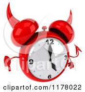 Clipart Of A 3d Devil Alarm Clock Holding A Thumb Down Royalty Free CGI Illustration