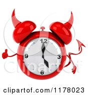 Clipart Of A 3d Devil Alarm Clock Holding A Thumb Up Royalty Free CGI Illustration by Julos