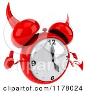 Clipart Of A 3d Devil Alarm Clock Holding A Thumb Up 2 Royalty Free CGI Illustration