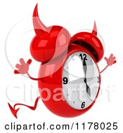 Clipart Of A 3d Devil Alarm Clock Jumping Royalty Free CGI Illustration