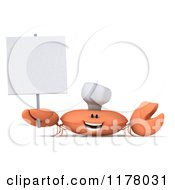 Clipart Of A 3d Orange Crab Chef Holding A Sign Royalty Free CGI Illustration