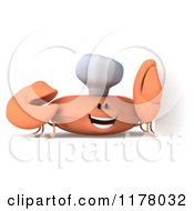 Clipart Of A 3d Orange Crab Chef By A Sign Royalty Free CGI Illustration