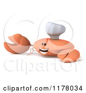 Clipart Of A 3d Orange Crab Chef Presenting Royalty Free CGI Illustration