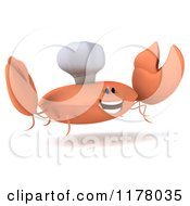 Clipart Of A 3d Orange Crab Chef Jumping Royalty Free CGI Illustration