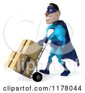 Clipart Of A 3d Black Super Hero Man In A Blue Costume Pushing A Dolly With Boxes 2 Royalty Free CGI Illustration
