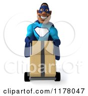 Clipart Of A 3d Black Super Hero Man In A Blue Costume Pushing A Dolly With Boxes Royalty Free CGI Illustration