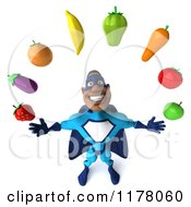 Clipart Of A 3d Black Super Hero Man In A Blue Costume Juggling Produce Royalty Free CGI Illustration