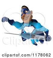 Clipart Of A 3d Black Super Hero Man In A Blue Costume Flying With A Syringe Royalty Free CGI Illustration