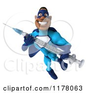 Clipart Of A 3d Black Super Hero Man In A Blue Costume Flying With A Vaccine Syringe Royalty Free CGI Illustration