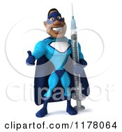 Clipart Of A 3d Black Super Hero Man In A Blue Costume Holding A Thumb Up And A Syringe Royalty Free CGI Illustration