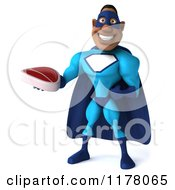 Clipart Of A 3d Black Super Hero Man In A Blue Costume Holding A Steak Royalty Free CGI Illustration