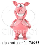 Clipart Of A 3d Pig Mascot Standing And Smiling Royalty Free CGI Illustration by Julos
