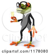 Clipart Of A 3d Formal Frog With Glasses And Champagne 2 Royalty Free CGI Illustration