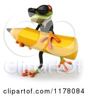 Clipart Of A 3d Formal Frog With Sunglasses Carrying A Large Pencil Royalty Free CGI Illustration