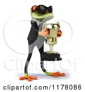 Clipart Of A 3d Formal Frog With Sunglasses Accepting A Trophy 2 Royalty Free CGI Illustration