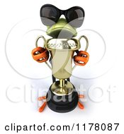 Clipart Of A 3d Formal Frog With Sunglasses Accepting A Trophy Royalty Free CGI Illustration