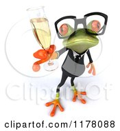 Clipart Of A 3d Formal Frog With Glasses And Champagne 3 Royalty Free CGI Illustration