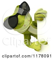 Clipart Of A 3d Gecko Lizard With Sunglasses Looking Around And Pointing At A Sign Royalty Free CGI Illustration