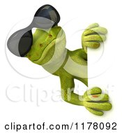 Clipart Of A 3d Gecko Lizard With Sunglasses Looking Around A Sign Royalty Free CGI Illustration