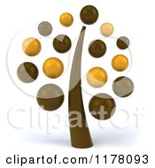 Clipart Of A 3d Retro Brown And Yellow Tree Royalty Free CGI Illustration by Julos