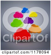 Clipart Of 3d Colorful Clouds Over Gray Royalty Free CGI Illustration