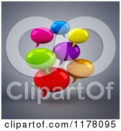Clipart Of 3d Colorful Chat Balloons Over Gray Royalty Free CGI Illustration by Julos