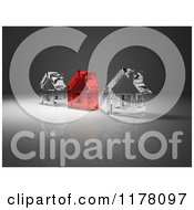 Clipart Of 3d Red And Clear Glass Houses On Gray Royalty Free CGI Illustration