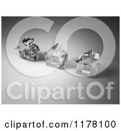 Clipart Of 3d Clear Glass Houses On Gray Royalty Free CGI Illustration