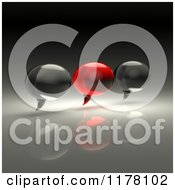 Clipart Of 3d Red And Black Chat Balloons On A Reflective Background Royalty Free CGI Illustration by Julos