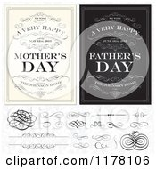 Clipart Of Vintage Happy Mothers And Fathers Day Greetings With Sample Text Swirls And Design Elements Over A Floral Pattern Royalty Free Vector Illustration