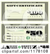 Clipart Of Vintage Bill Styled Gift Certificate Designs With Letters Royalty Free Vector Illustration by BestVector