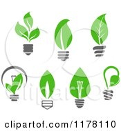 Clipart Of Green Leaf Sustainable Energy Lightbulbs Royalty Free Vector Illustration