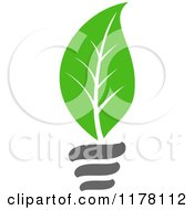 Clipart Of A Green Leaf Sustainable Energy Lightbulb 3 Royalty Free Vector Illustration