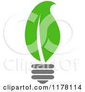 Clipart Of A Green Leaf Sustainable Energy Lightbulb 2 Royalty Free Vector Illustration
