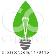 Clipart Of A Green Leaf Sustainable Energy Lightbulb 6 Royalty Free Vector Illustration