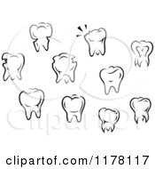 Clipart Of Black And White Molar Teeth Royalty Free Vector Illustration