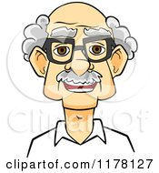 Clipart Of A Happy Smiling Senior Caucasian Man With Glasses Royalty Free Vector Illustration