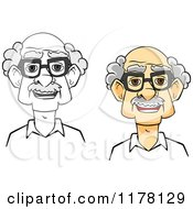 Clipart Of A Happy Smiling Senior Man With Glasses In Grayscale And Color Royalty Free Vector Illustration by Vector Tradition SM