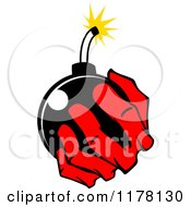Clipart Of A Red Hand Holding A Bomb Royalty Free Vector Illustration