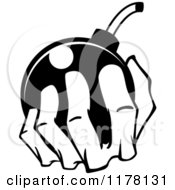 Clipart Of A Black And White Hand Holding A Bomb Royalty Free Vector Illustration