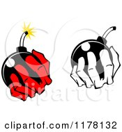 Clipart Of Black And White And Red Hands Holding A Bomb Royalty Free Vector Illustration