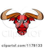 Clipart Of An Intimidating Red Bull Head Royalty Free Vector Illustration