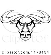 Clipart Of An Intimidating Black And White Bull Head Royalty Free Vector Illustration