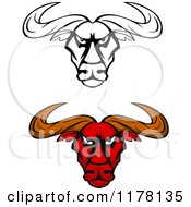 Clipart Of Intimidating Red And Black And White Bull Heads Royalty Free Vector Illustration