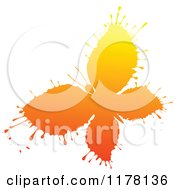 Clipart Of An Orange Ink Splatter Butterfly Royalty Free Vector Illustration