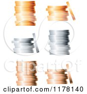 Clipart Of 3d Stacked Bronze Silver And Gold Coin Stacks Royalty Free Vector Illustration