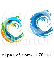 Clipart Of Colorful And Blue Painted Curling Waves Royalty Free Vector Illustration